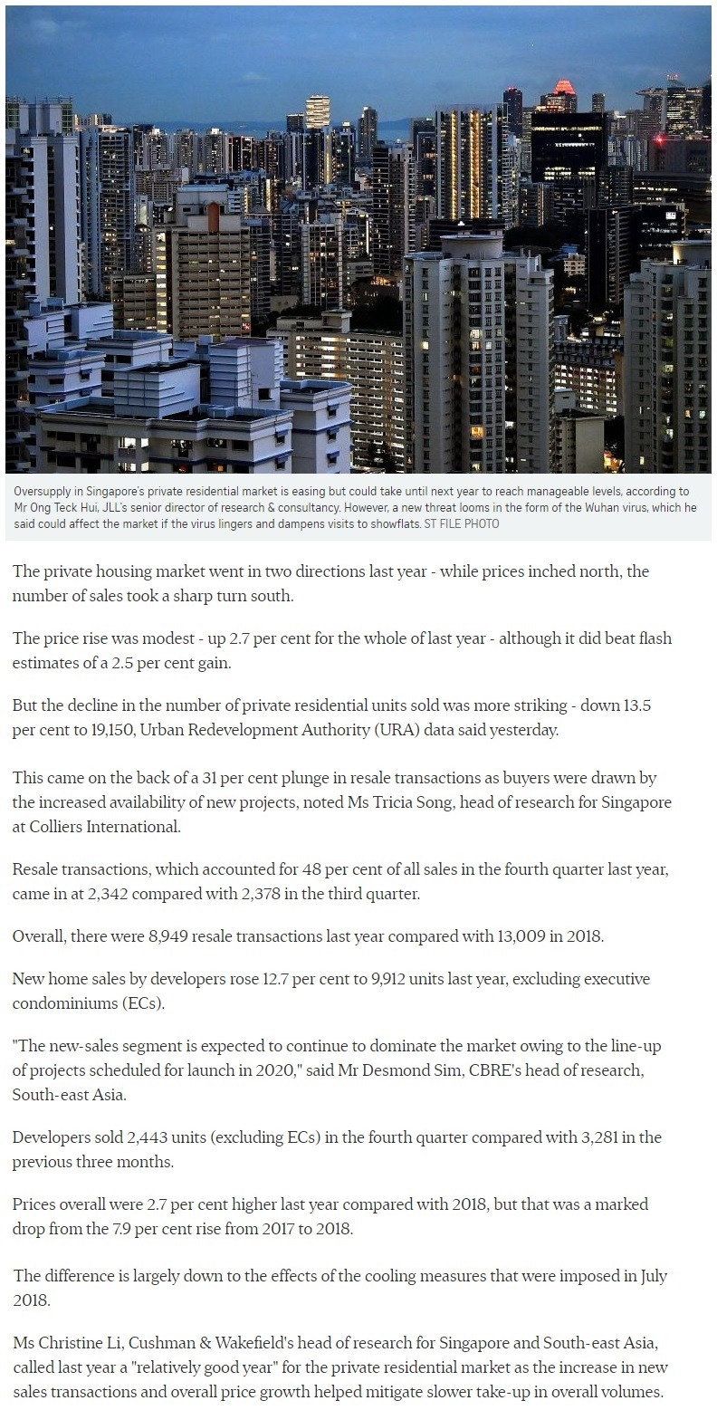 Singapore private home prices inch up 2.7% for 2019 Part 1